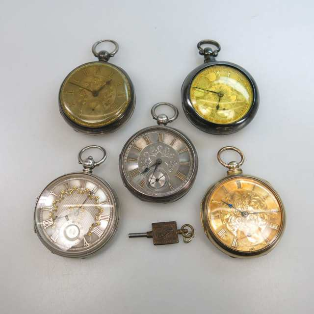 5 Various Keywind Openface Pocket Watches