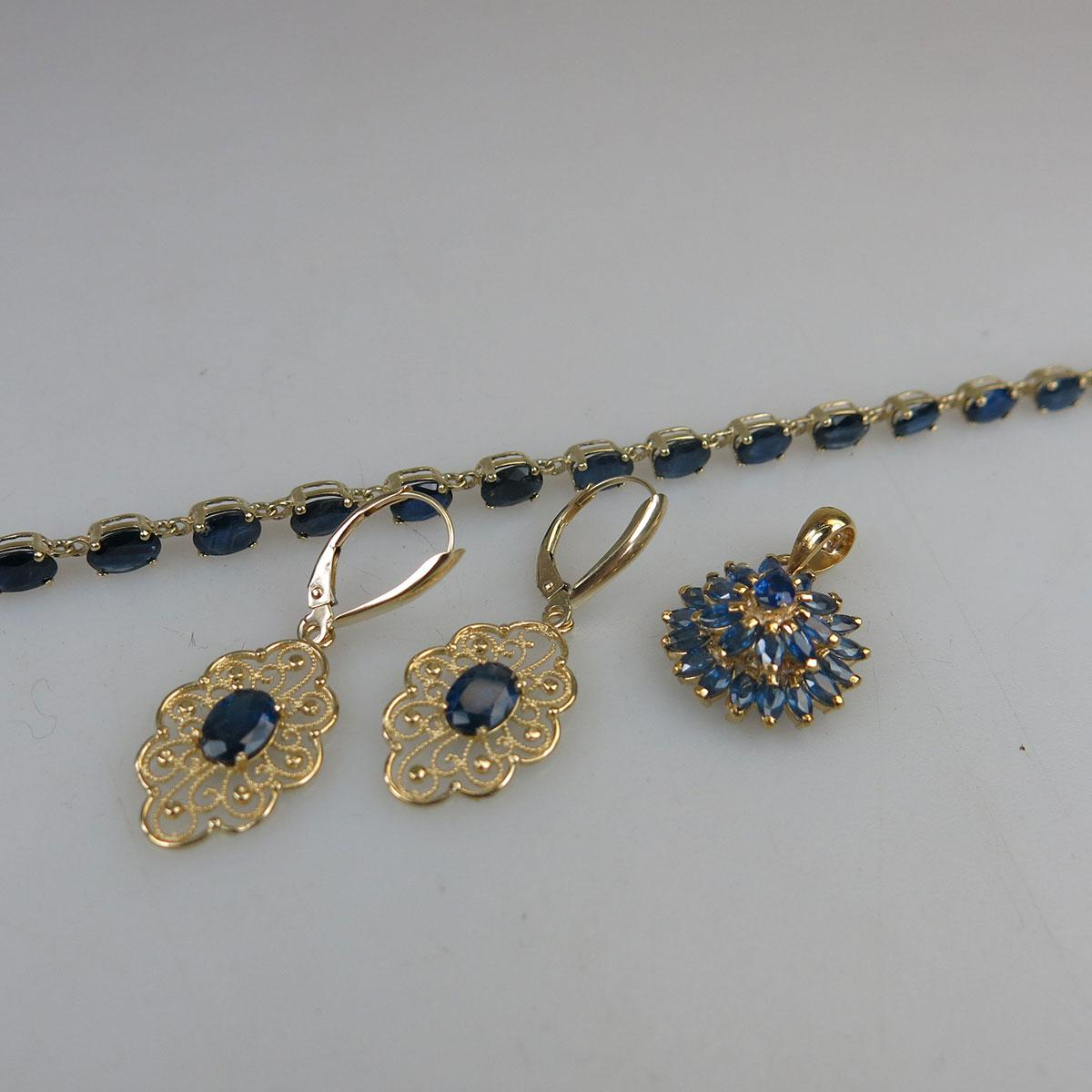 10k Yellow Gold Bracelet And 14k Yellow Gold Pendant And Earrings