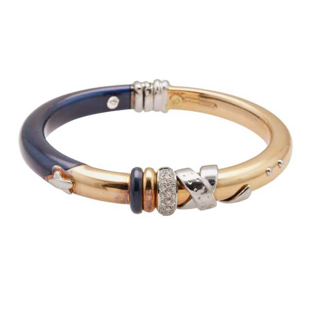 La Nouvelle Bague 18k Yellow And White Gold And Silver Swing-Hinged Bangle