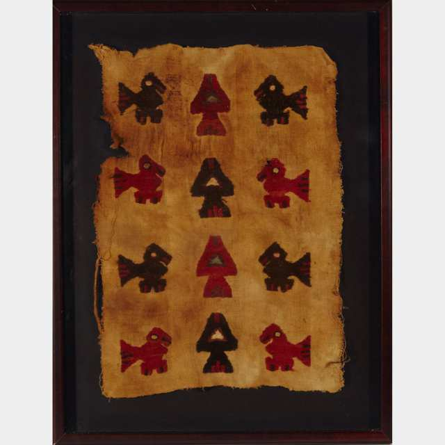 South American Peruvian Pre Colombian Chankay Textile Fragment, 1000-1450 A. D.