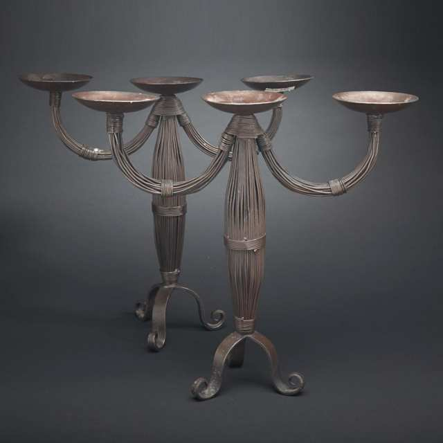 Pair of Contemporary Wrought Iron Three Light Candelabra, 20th century