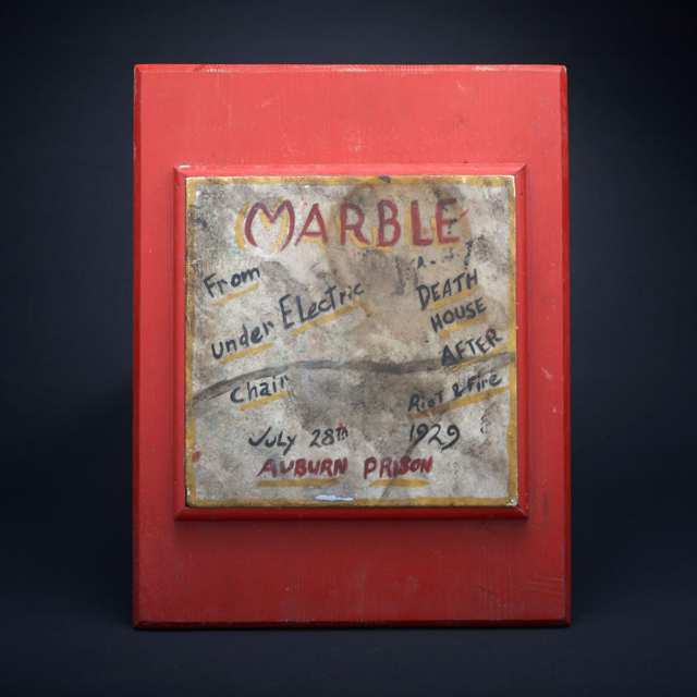 Marble Insulating Tile From Electric Chair at Auburn Prison, early 20th century