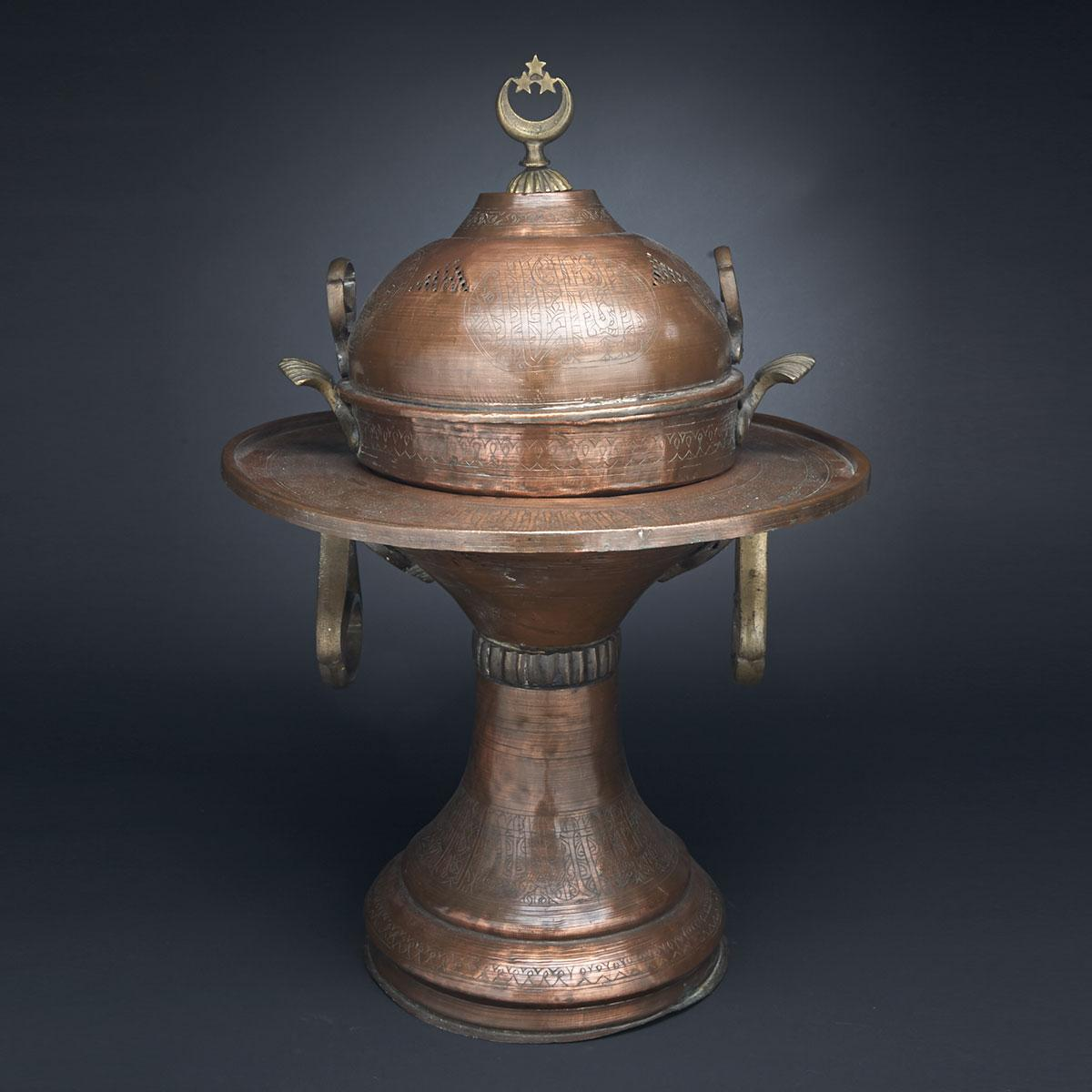Large Egyptian Brass Mounted Copper Brazier, early 20th century