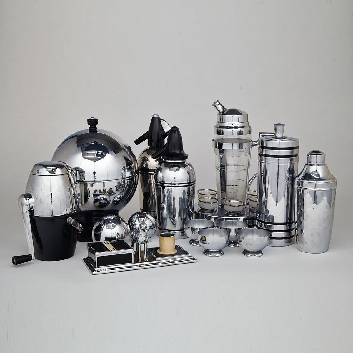 Miscellaneous Group of Chrome Bar Ware, mid 20th century
