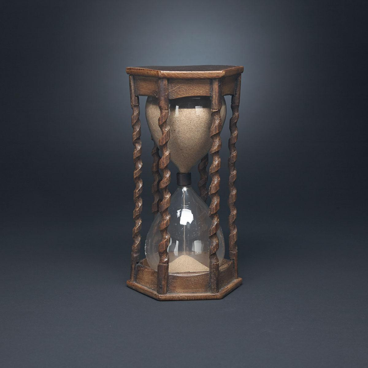 French Carved Oak Hour or Sand Glass, 19th century