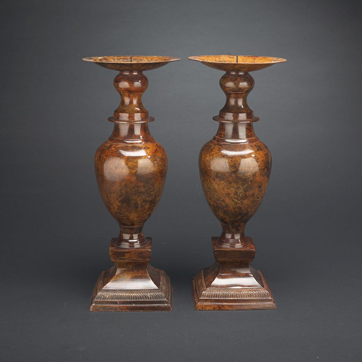 Pair of Contemporary Lacquered Metal Baluster Form Prickets, 20th century