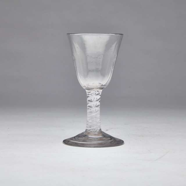 English Opaque Twist Stemmed Glass Cordial, c.1760-80