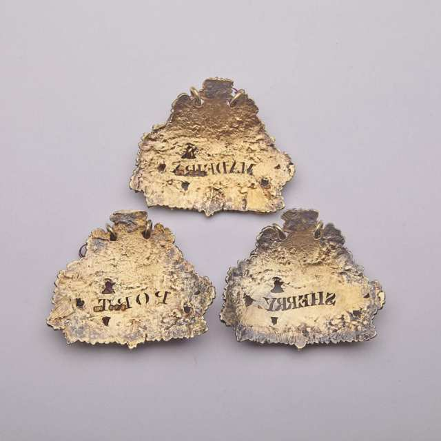 Set of Three George III Silver-Gilt Wine Labels, John Reily, London 1814