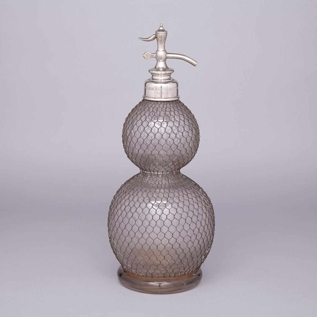 'VÉRITABLE SELTZOGENE' DOUBLE GOURD SELZER BOTTLE, PARIS, C.1900