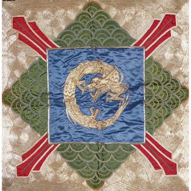 Silk Embroidered Red Ground Dragon Panel, Early to Mid 20th Century