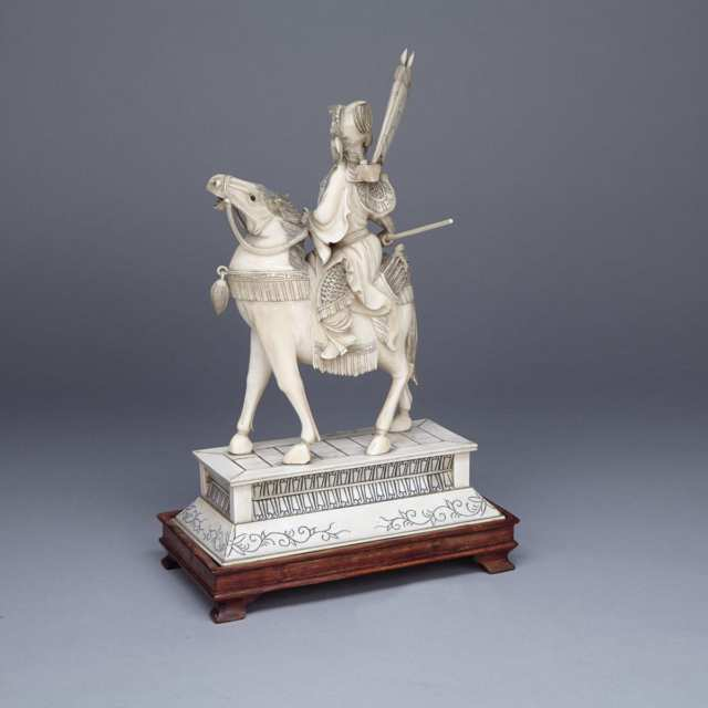 Ivory Carved Female Warrior and Horse Group, Circa 1940