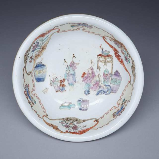 Export Famille Rose Figural Basin, 18th Century