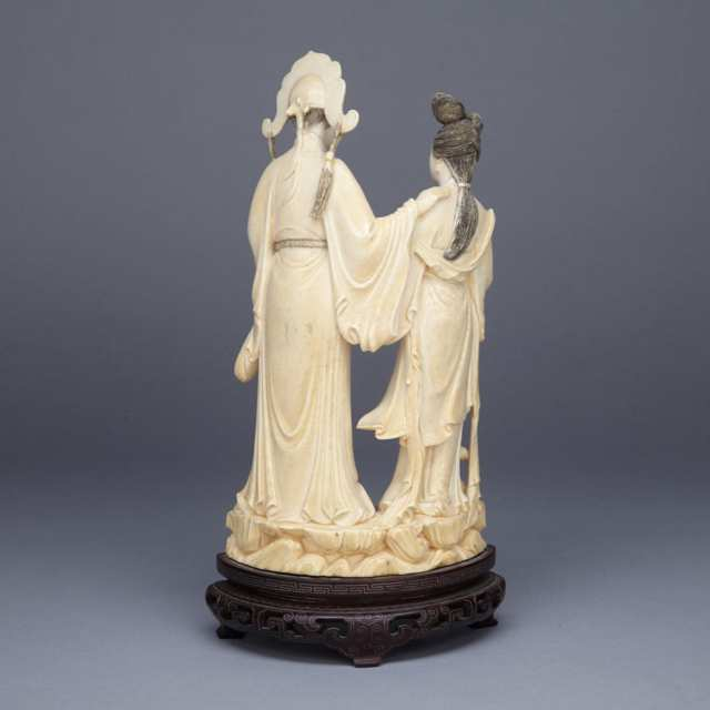 Ivory Carved Scholar and Maiden Group, Circa 1930's