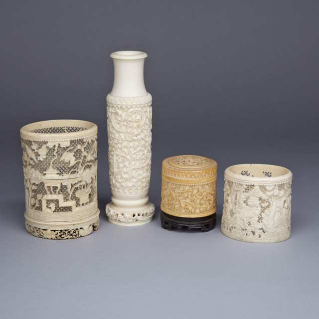 Four Ivory Carved Decorative Vases, Circa 1900-1940