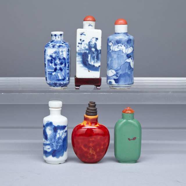 Four Blue and White Snuff Bottles