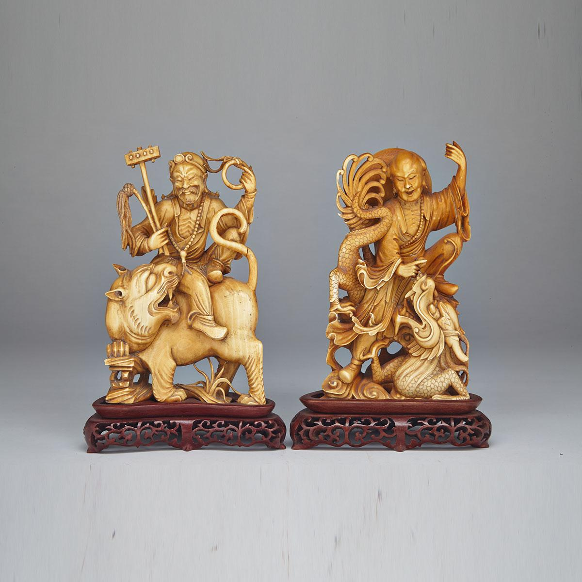 Two Large Ivory Carved Stained Daoist Immortals, Circa 1940's