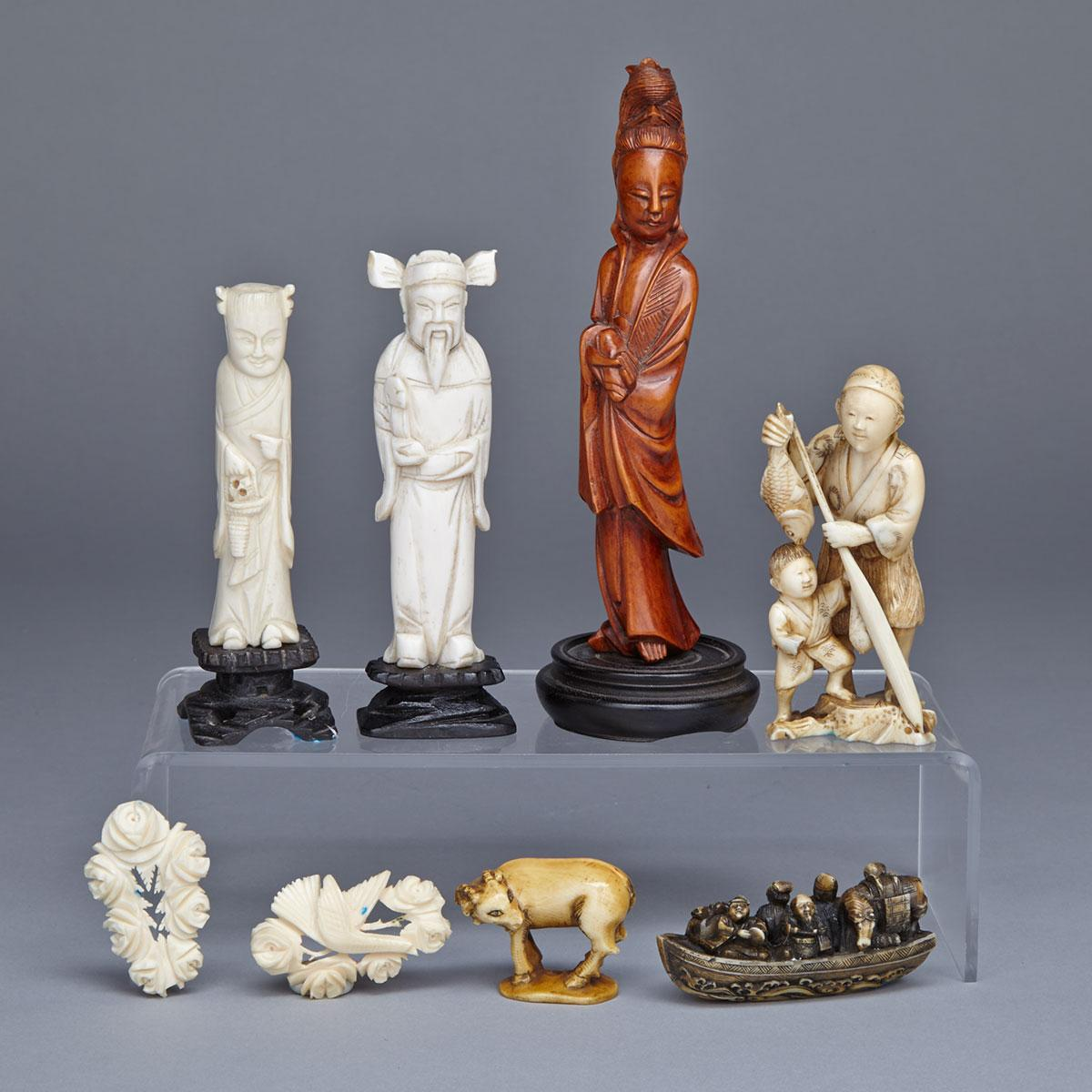 Group of Eight Carvings, China and Japan,  Circa 1880-1920