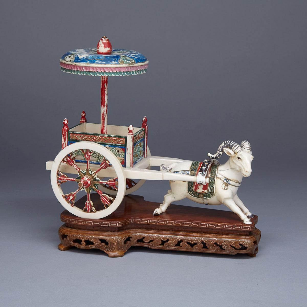 Tinted Ivory Carved Ram and Cart Group, Circa 1940