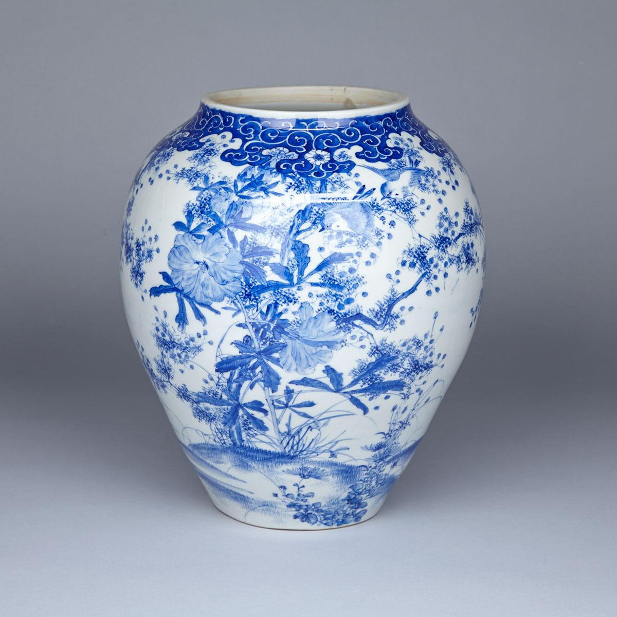 Large Blue and White Arita Floral Jar, Meiji Period, 19th Century