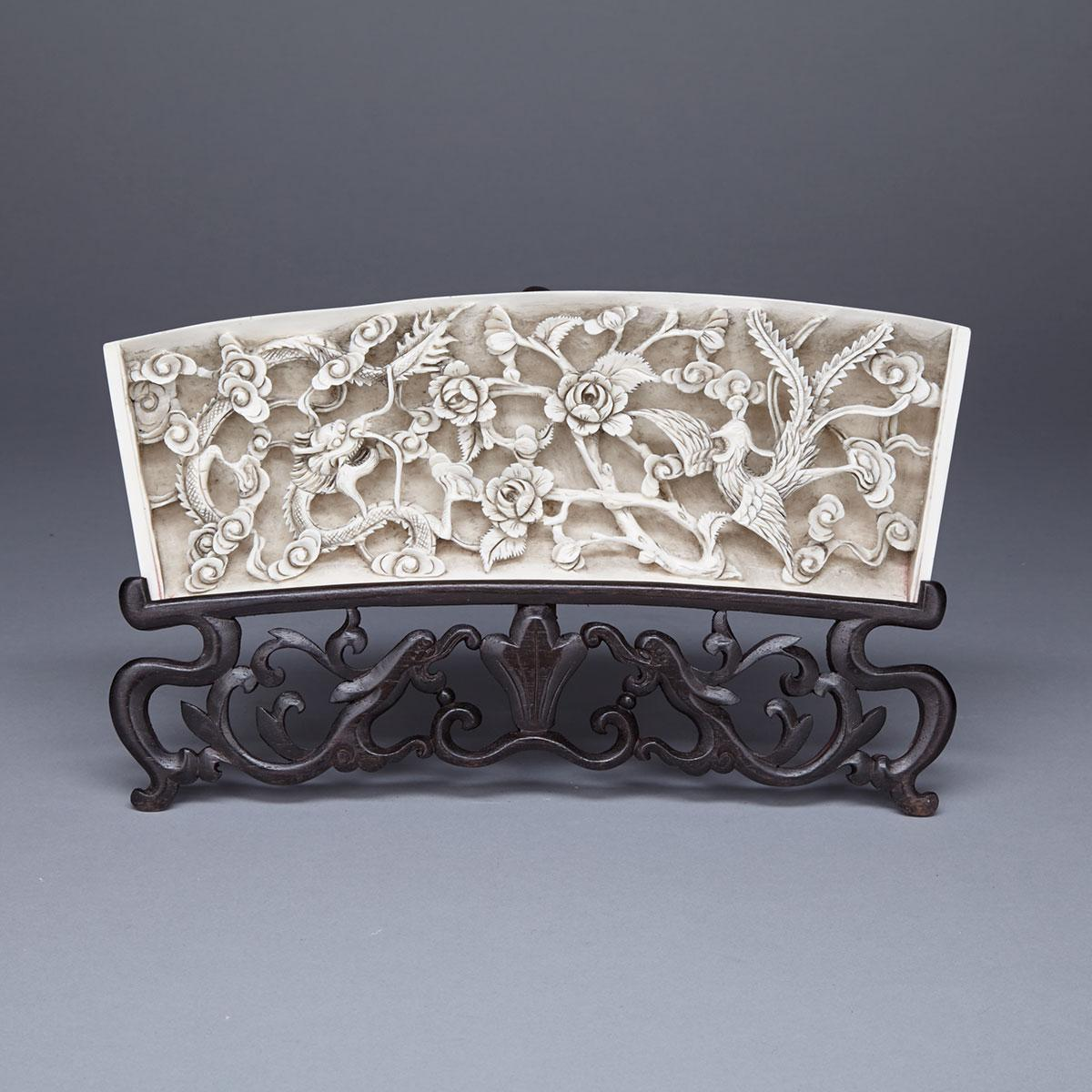 Ivory Carved Dragon and Phoenix Panel, Circa 1930's