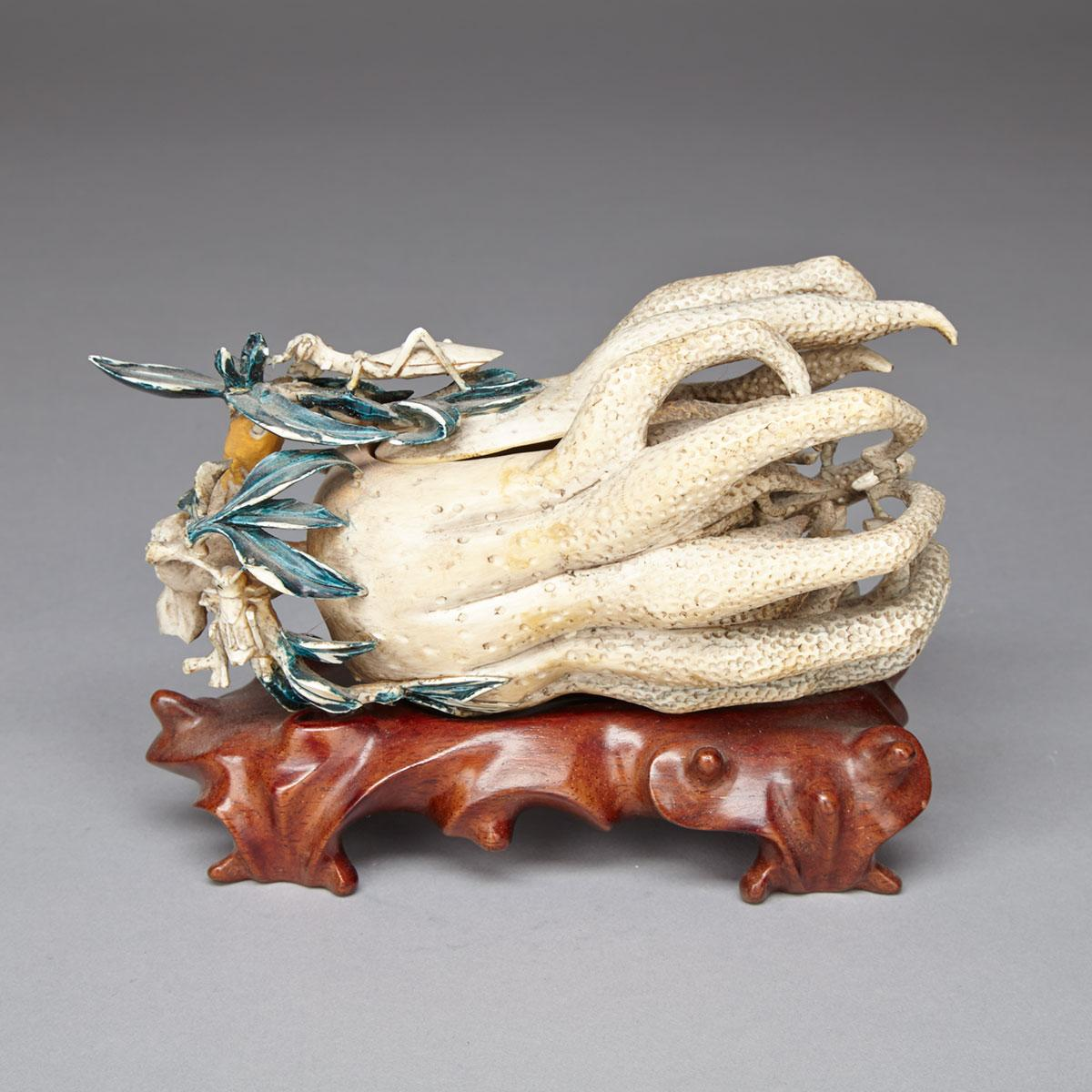 Ivory Carved Buddha's Hand Citron, Early 20th Century