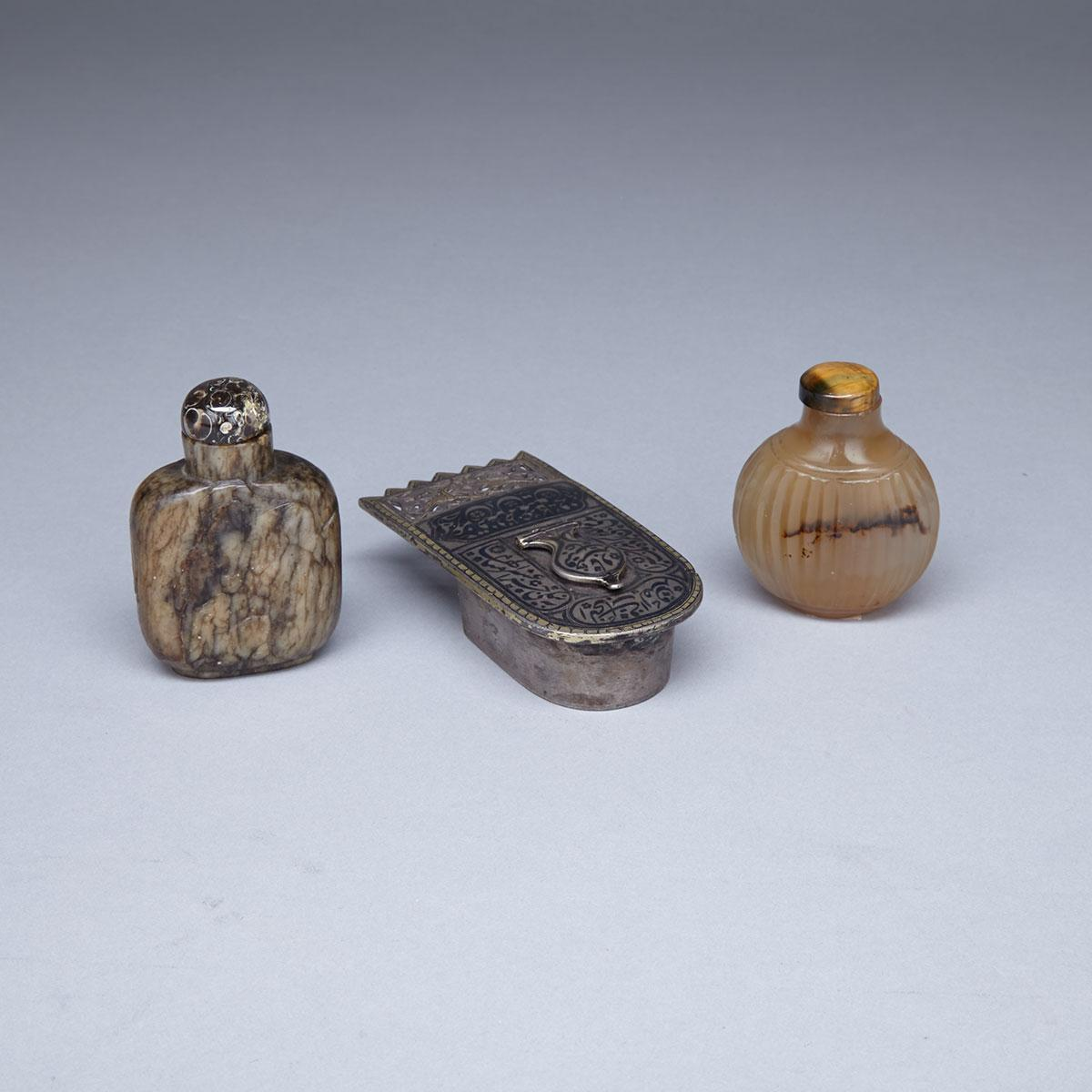 Two Hardstone Snuff Bottles, 19th Century