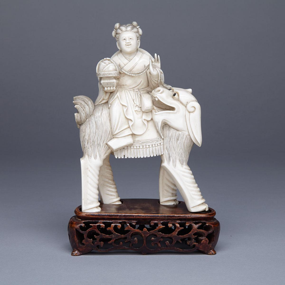 Ivory Carved Boy and Mythical Beast Group, Circa 1940