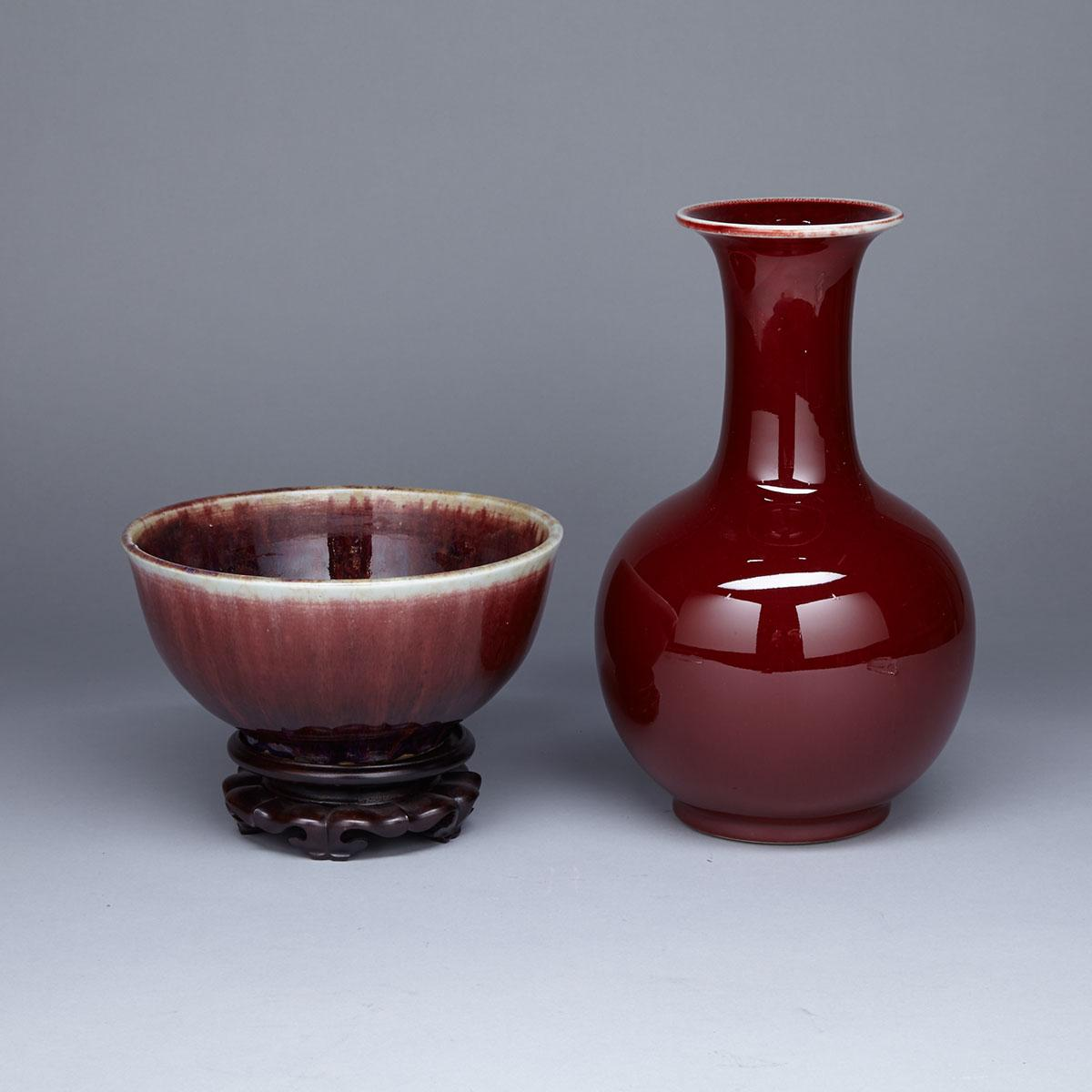 Oxblood Glazed Bottle Vase, Jingdezhen Mark