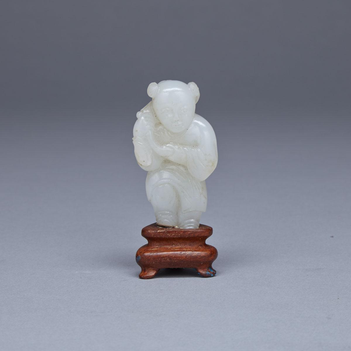 White Jade Miniature Figure of a Boy, 19th Century