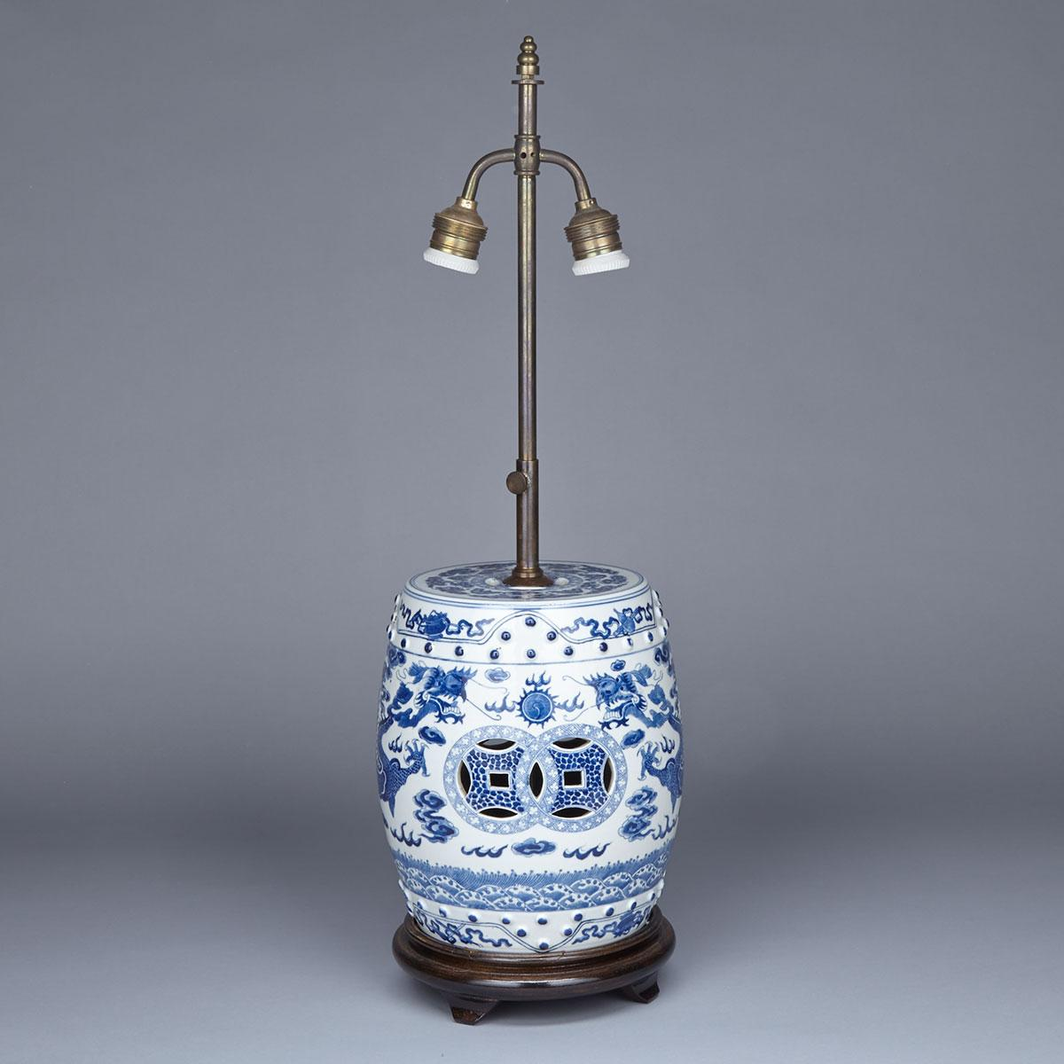 Blue and White Miniature Drum Stool, Late 19th Century