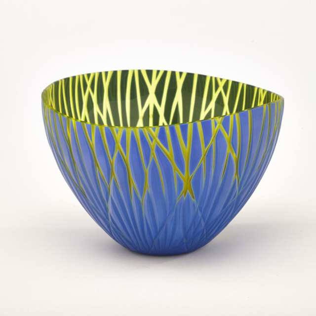Venini Carved Opaque Blue and Yellow Glass Vase, 2004