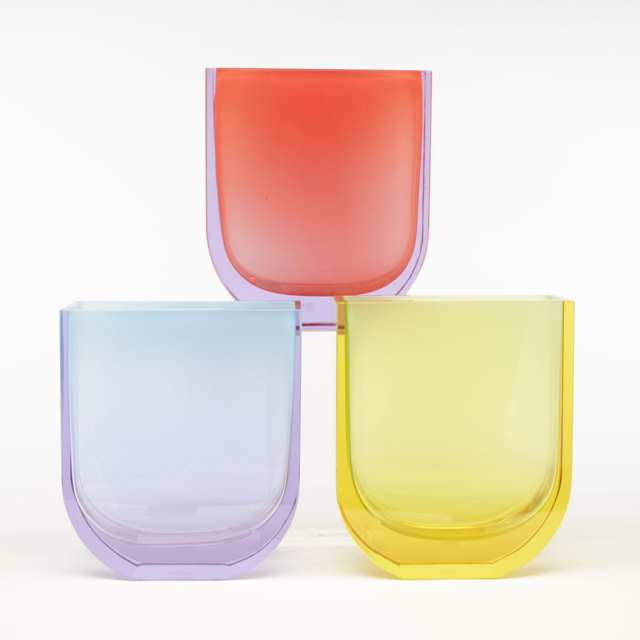 Jiri Suhajek (Czech, b.1943) for Moser, Three 'Rainbow' Glass Vases, c.2005