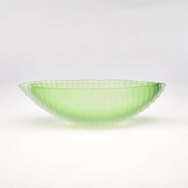 Laura de Santillana (Italian, b.1955) for Arcade, Green Glass Canoe Shaped Vase, c.2000
