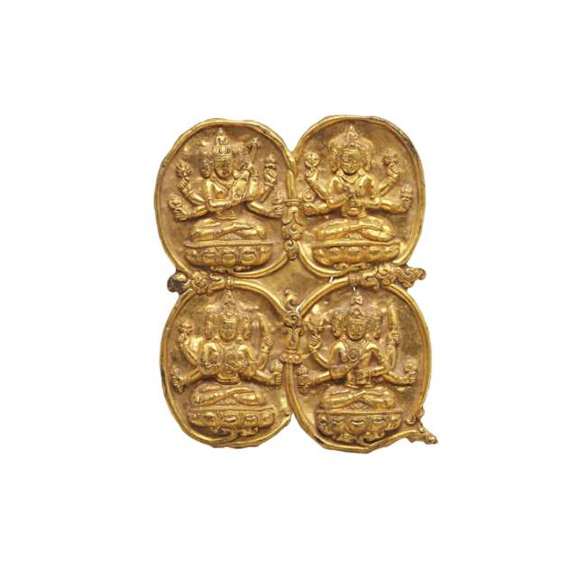 Gilt Bronze Repousse Plaque with Four BODDHISATTVAs,  Tibet, 17th/18th Century