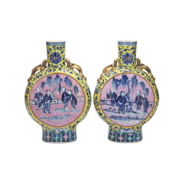 Pair of Blue and White Moonflasks, 19th Century