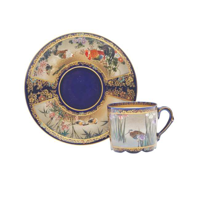 Finely Painted Satsuma Tea Cup and Saucer, Signed Kinkozan, Meiji Period, Late 19th Century