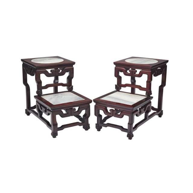 Pair of Rosewood and Marble Inlay 'Stepped' Stands, Mid-20th Century