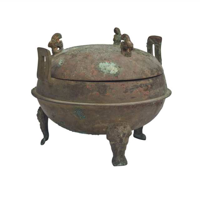 Small Bronze Tripod Vessel, Ding, Han Dynasty