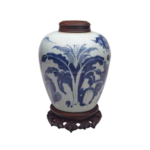 Blue and White Ginger Jar, Transitional Period, 17th Century