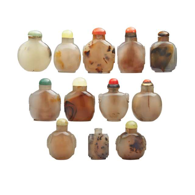Group of Twelve Agate Snuff Bottles, 19th/20th Century