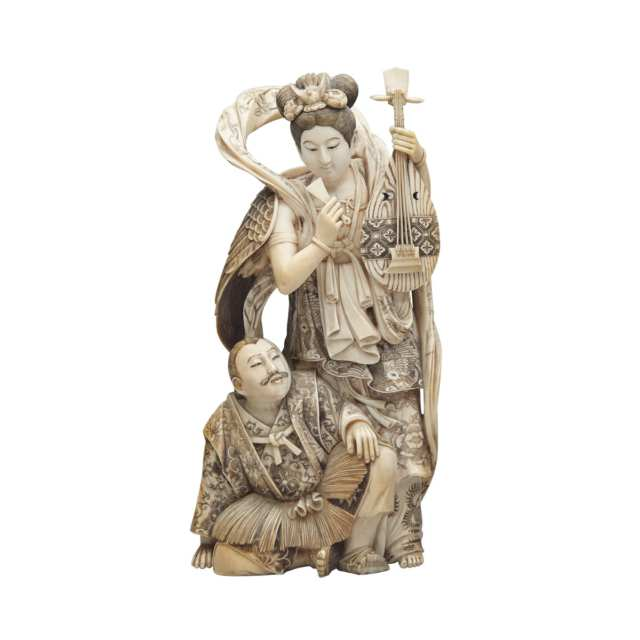 Finely Carved Ivory Okimono of a Hagoromo Tale, Meiji Period, Late 19th Century