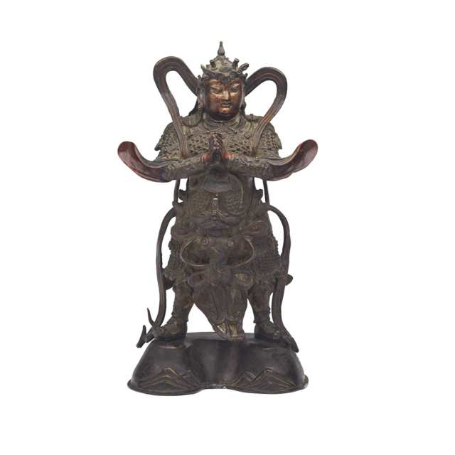 Large Lacquered Bronze Figure of Wei Tuo, 16th/17th Century