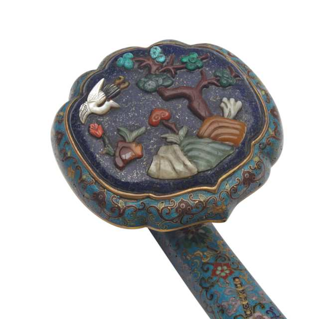 Cloisonné Enamel and Hardstone Inlay Ruyi Sceptre, Late Qing Dynasty