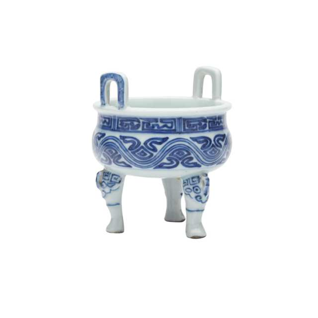 Blue and White Tripod Vessel, Qianlong Mark and Probably of the Period (1736-1795)
