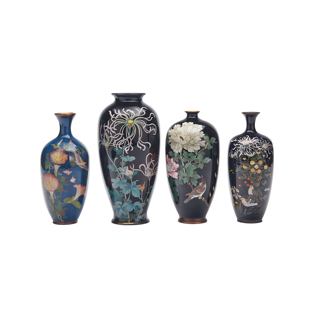 Group of Four Cloisonné Enamel Floral Vases, Early 20th Century