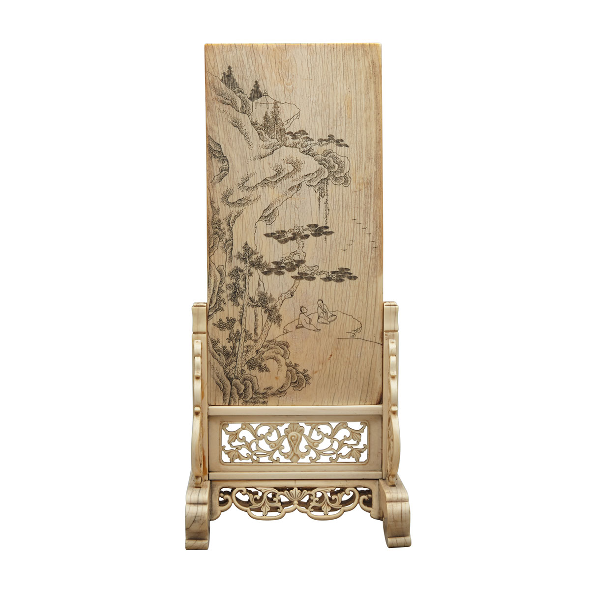 Ivory Screen and Stand, 19th Century