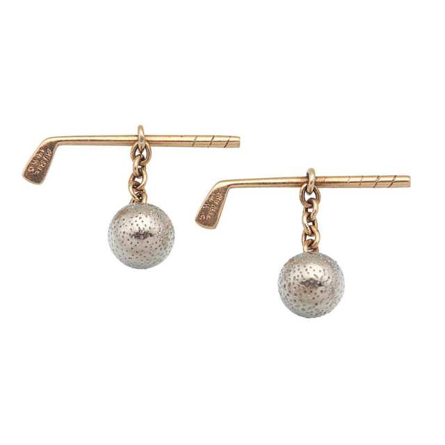 Pair Of Ryrie 14k Yellow And White Gold Cufflinks