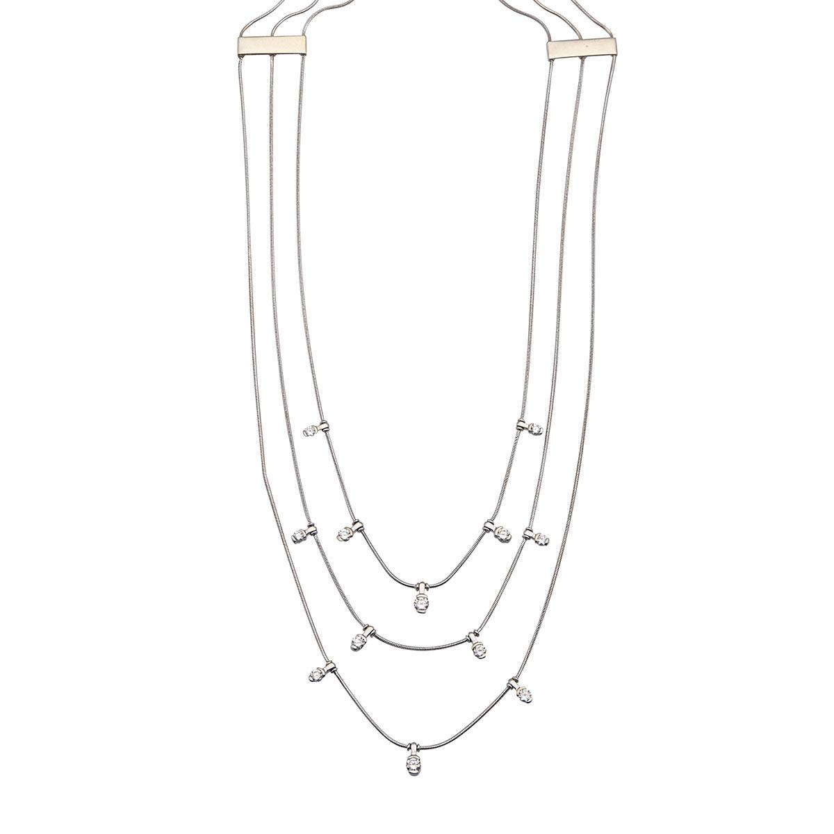 Jose Hess 18k White Gold Triple Strand Necklace