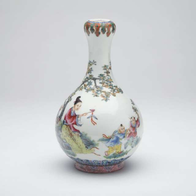 Famille Rose 'Figural' Bottle Vase