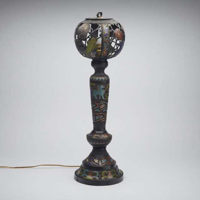Champlevee Enamel Lamp, Japan, Early 20th Century